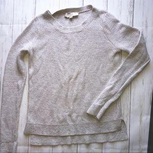 LOFT Cotton Chunky Sweater XS Tan White NWOT